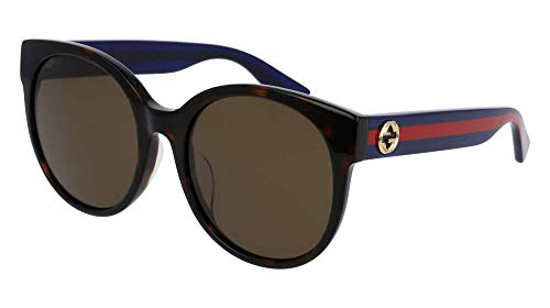 Gucci Damen GG0035SA 003 Sonnenbrille, Braun (Avana/Brown), 56