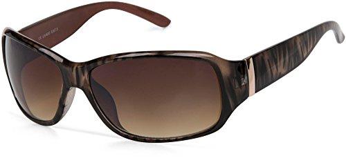 styleBREAKER Designer Sonnenbrille mit Streifen Musterung, Schmetterlingsform, Vollrand, Damen 09020052, Farbe:Gestell Braun/Glas Braun Verlaufsglas