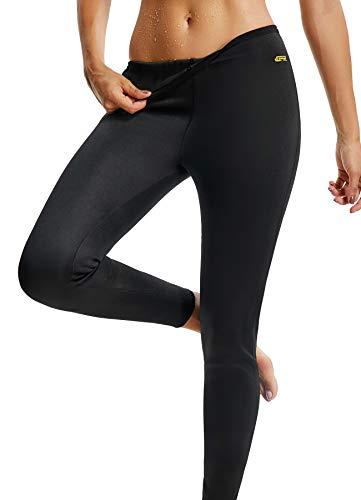 FITTOO Damen Neopren Schwitzhose zum Training, Figurformende Capri für Yoga Joggen, Sport Mädchen Abnehmen Schlanke Fitnesshose Schwarz & Gelb X-Large