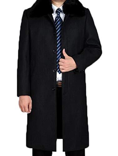 Vogstyle Herren Mantel Wolljacke Lang Umlegekragen Wollmantel Warm Trenchcoat Business Windbreaker Ãœberzieher (Large, Style 2 Dick Schwarz)