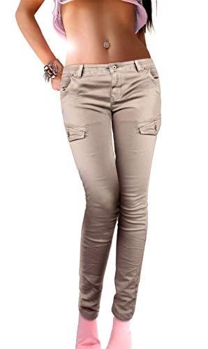 if she Pantalon Slim Femme Cargo Armée Poches latérales de Style Militaire Super Stretch en Beige ou Gris, Taille:40, Couleur:Beige