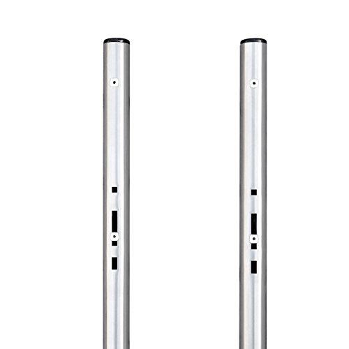 banjado - universell einsetzbarer Briefkastenständer 146,5x3,2x3,2cm | Standfuß Briefkasten Universal Edelstahl | Ständer 2 Rohre zum Einbetonieren
