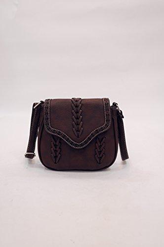 Mefly Fashion Schultertasche Handtasche Kreuz Gewebten Beutel Dark Brown
