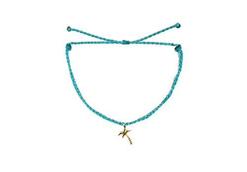 Palm Costa Rica (Pura Vida Bitty BB Palm Tree Charm Pacific Blue Bracelet - Gold-Plated Charm, Adjustable Band - 100% Waterproof)