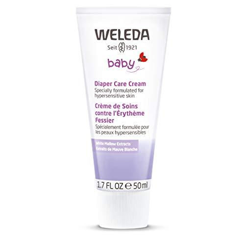 WELEDA Weisse Malve Babycreme, Naturkosmetik Hautcreme für den Schutz und die Regeneration von gereizter Babyhaut, Heilsalbe für die Pflege des Windelbereich (1 x 50ml)