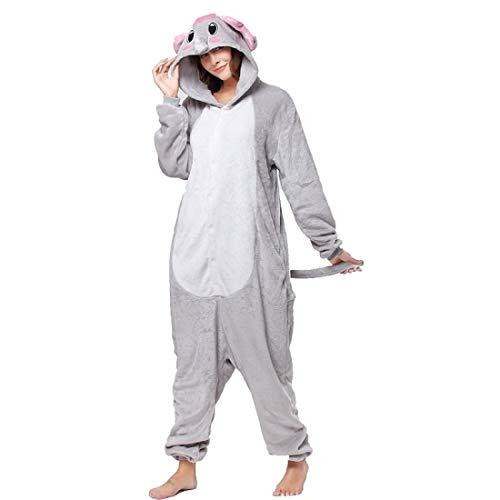 DUKUNKUN Erwachsene Pyjamas Elephant Pyjamas Kostüm Flanell Grau Cosplay Für Tier Nachtwäsche Cartoon Halloween Festival/Urlaub / Weihnachten,XL