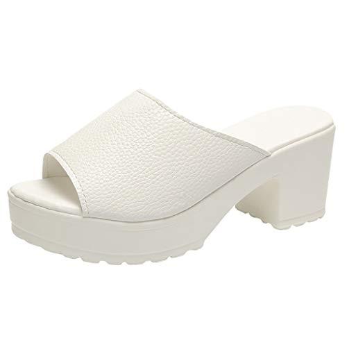 HROIJSL Knöchelwickel Kleid Pumps für Frauen High Heels Sandalen Damen Sommerschuhe Bequeme Slingback-Kätzchenabsatz Absatz Sandaletten Peep Toe Flach Damen Espadrille