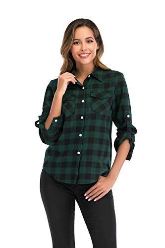 Camisa de Cuadros para Mujers Camisa Basiccon Botones Camisetas Cuello en V Camisas de Vestir Mangas Cortas Casual Oficina Básico-Verder,XL