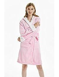 Mikrofaser Fleece Bademantel mit Kapuze weiß rosa Einhorn