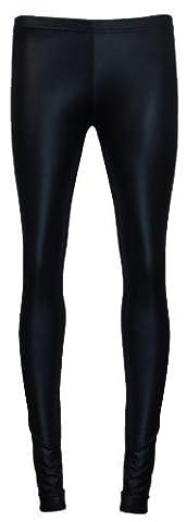 Damen Leggings Nass Look Schwarz Glänzende Hautenge Hose EU 36 - 42 - Schwarz, S/M (EU 34 - 38)
