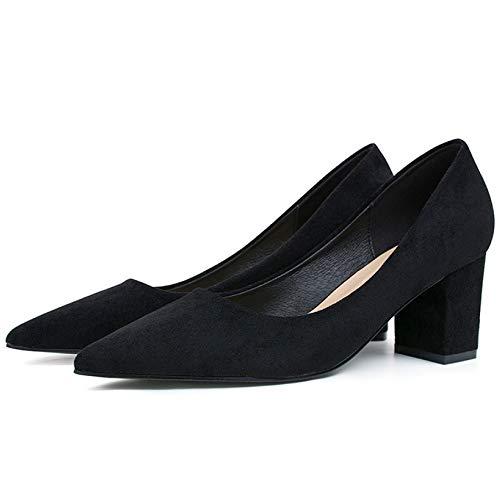 Damen Blockabsatz Damen Spitze Niedrig Mittlere Ferse Arbeit Büro Party Gericht Schuhe Größe,Black-EU39=245