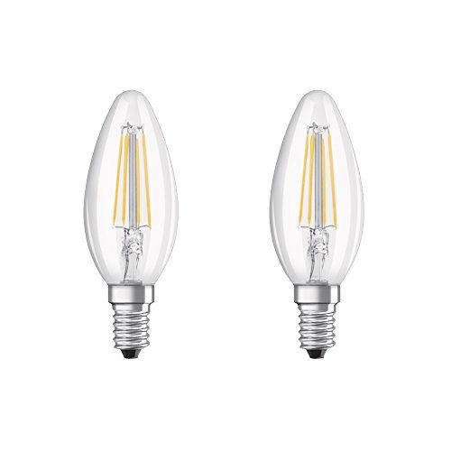 Osram LED Base Classic B Lampe, in Kerzenform mit E14-Sockel, nicht dimmbar, Ersetzt 40 Watt, Filamentstil Klar, Warmweiß - 2700 Kelvin, 2er-Pack