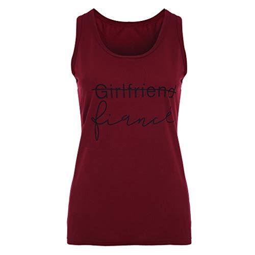 Andouy Damen Mädchen Weste Tank Slogan Letters Print Camis Ärmelloses Top Größe 34-46 Bluse T-Shirt(5XL(46),Wein)