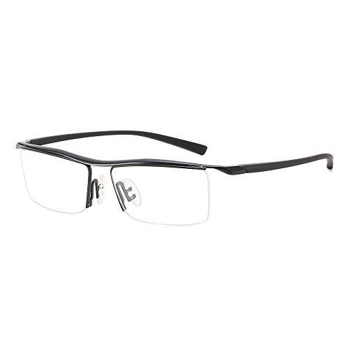 Easy Go Shopping Kunststoff Optischer Spiegel Persönlichkeit Business Brillengestell Normale Brillen Herren Klassisch Sonnenbrillen und Flacher Spiegel (Color : Schwarz, Size : Kostenlos)