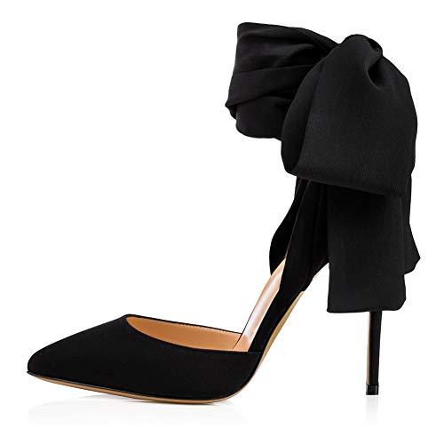 Hayaya Damenhochzeit Schuhe, wild Punkt spitz Pee-Heel Elegante sexy Riemen Satin Nähte Damen Sandalen,b,36 Moda Satin-heels