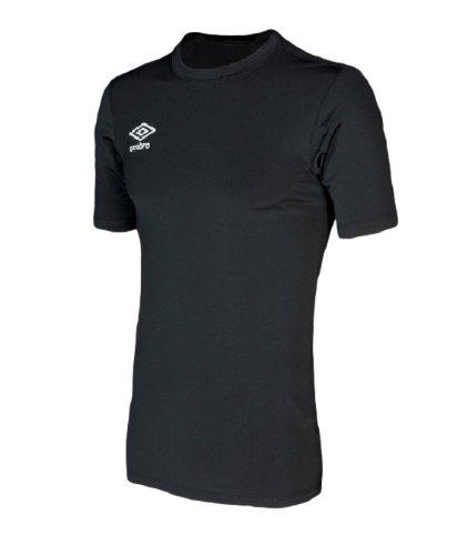 Umbro Junior Jungen Kurzarm Base Layer T-Shirt, schwarz (Brust-komprimierung-shirts)