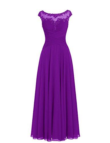 Dresstells, robe de soirée mousseline, robe longue de cérémonie, robe longueur ras du sol de demoiselle d'honneur Pourpre