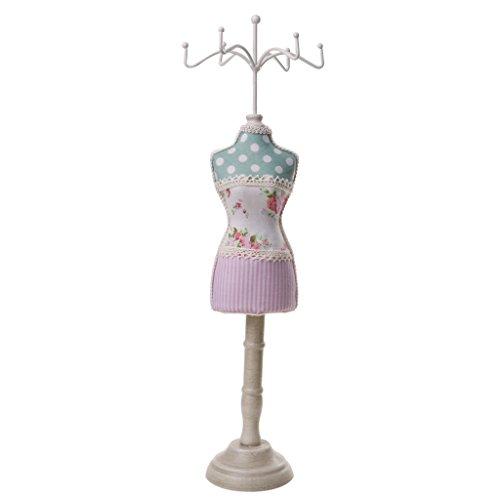 P Prettyia Verkaufsständer Schmuckständer Puppe Form - Rosa Streifen