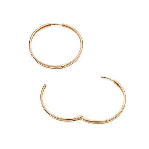 Amberta Cerchi in Argento Sterling 925 - Placcato Oro Rosa da 14k - Cerchio Orecchini - Huggie Orecchini - Diametro: 45 mm
