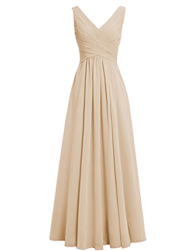 HUINI Damen Modern Kleid champagnerfarben