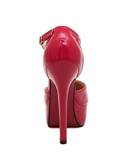 Pompes Fermeture étanche Sexy BREVET Talons Minces Chaussures red