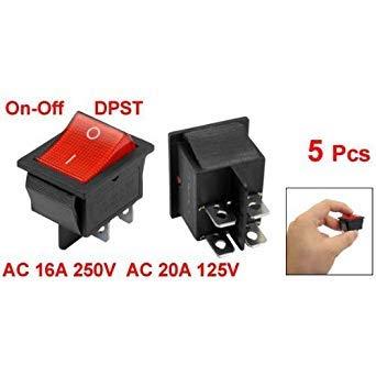 SODIAL(R) 5 x Interruptor Basculante Luz Iluminado Rojo On/Off DPST 16A/250V 20A/125V...