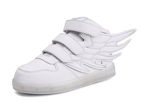 SMITHROAD Unisex 7 Farbe Farbwechsel USB Aufladen LED Leuchtend Sport Schuhe Sneaker Turnschuhe Flügel Design für Jungen Mädchen Weiß