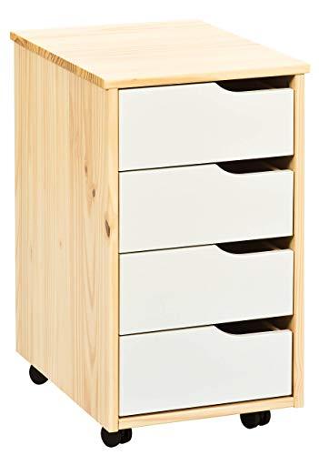H24living Rollcontainer Bürocontainer Rollschrank Schubladenkommode Mobiler Büroschrank mit Schubladen und Rollen (4 Schubladen, Natur-Weiß)