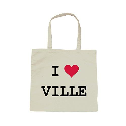 Yonacrea - Sac Bandoulière Blanc - I love - Personnalisé avec la ville de votre choix