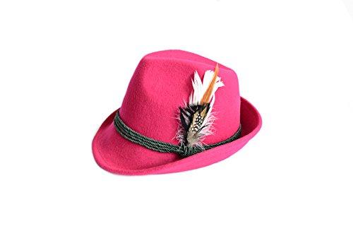 Trachtenhut aus 100% Wolle mit echter Feder, Farbe pink Gr. 56