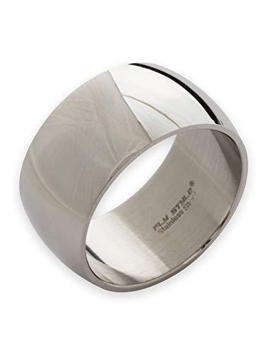 Fly Style Bandring Edelstahl Ring für Damen Herren | 8-12 mm breit | matt oder poliert, Ring Grösse:24.9 mm, Oberfläche:12mm Poliert - Band-ringe Breites Silber