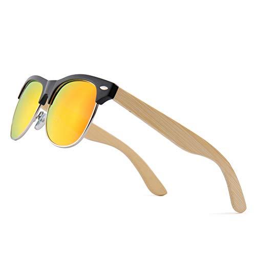 Zbertx Bambus Halb Randlose Sonnenbrillen Männer Holz Sonnenbrille Frauen Holz Gläser,Gold