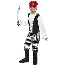 Smiffys-25761L Disfraz de Pirata y Camisa, Pantalones, cubrebotas, pañoleta para, Color Negro y Blanco, L-Edad 10-12 años (Smiffy'S 25761L)