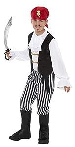 Smiffys-25761L Disfraz de Pirata y Camisa, Pantalones, cubrebotas, pañoleta para, Color Negro y Blanco, L-Edad 10-12 años (Smiffy
