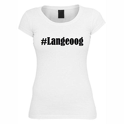 T-Shirt #Langeoog Hashtag Raute für Damen Herren und Kinder ... in den Farben Schwarz und Weiss Weiß