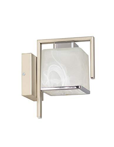 Wandlampe Silber Weiß Alabaster Glas Würfel E27 wohnlich JENNA Wandleuchte Bett Flur Hotel - Silber Alabaster, Glas