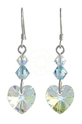 Swarovski Crystal Birthstone Hanging/Drop Earrings with Aurora Borealis Heart Ideal Birthday Gift - MARCH - AQUAMARINE