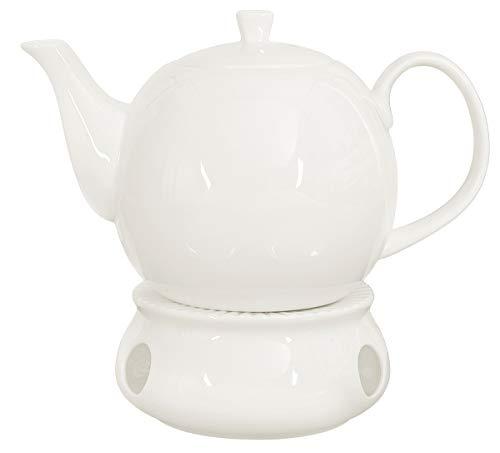 Buchensee Porzellan Kanne 1,5 Liter mit Stövchen. Elegantes Teeset/Kaffeeset aus Fine Bone China in...