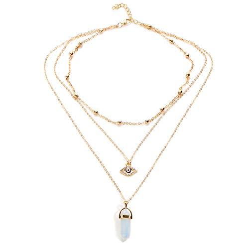 JMZDAW Halskette Anhänger Die Multilayer Halskette Frauen Lange Kette Türkei Auge Anhänger Halskette Mode Natürliche Opal Halskette Schmuck Mädchen