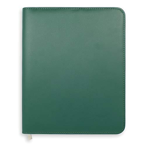 Boxclever Press Essentials - Funda para agenda A5. Cubierta de planner de cuero sintético con cierre de cremallera y bolsillo para papeleo. VERDE HIEDRA