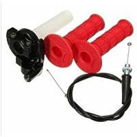 Mangos de goma Ungfu Mall para manillar de moto, con cable de acción rápida, para motos de 110 y 125 cc (2 piezas, 22 mm).