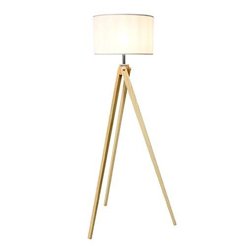 Viugreum Lampadaire Triepied Bois Blanc, Lampe sur Pied [8W LED Ampoule Inclus 720lm][Interrupteur sur Câble] Moderne Scandinave Desigh pour Solon Chambre Bureau (BLANC)