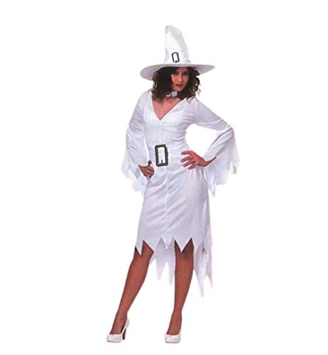 KarnevalsTeufel Damenkostüm Weiße Hexe 2-TLG. Kleid für Erwachsene in weiß und Hexenhut Magierin Zauberin Halloween Kostüm (44)