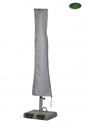 Premium Schutzhülle für Marktschirm/Sonnenschirm aus Polyester Oxford 600D - lichtgrau - von \'mehr Garten\' - Durchmesser 350 bis 450 cm