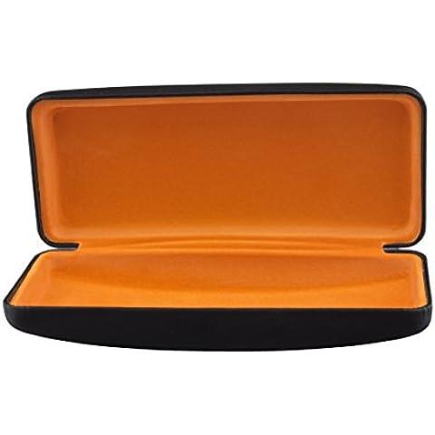 Estuche para gafas con acabado metalizado y forro de terciopelo en colores diferentes (negro metálico / naranja)