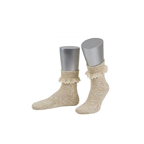 ALMBOCK Trachtensocken Damen beige   melierte Socken mit Spitze fürs Dirndl   kurz und atmungsaktiv