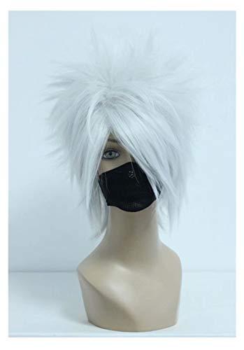 COSPLAZA Kostüm Perücke Silber Stachelige Flauschige Kurze Haare Junge Mann Ninja Anime Show Charakter Spielen Partei Hitzebeständige Cosplay Perücke