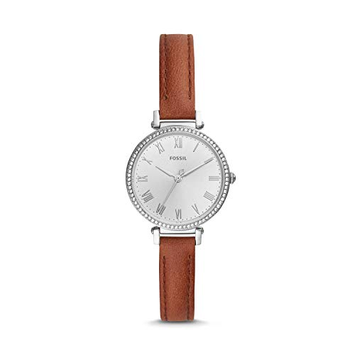 Fossil Damen Analog Quarz Uhr mit Leder Armband ES4446