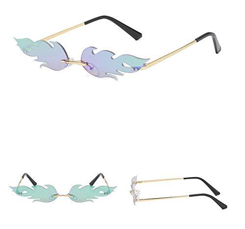 WSKPE Sonnenbrille,Kleine Flamme Rahmenlose Sonnenbrille Männer Frauen Mode Sonnenbrille Farben Uv400 Gold Frame,Grüne Linse