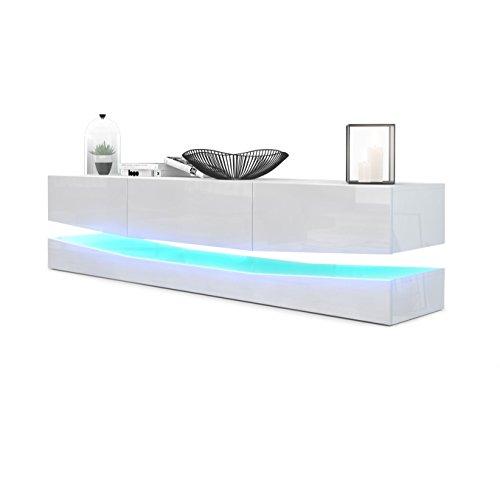 Meuble TV Armoire basse City, Corps en Blanc haute brillance / Façades en Blanc haute brillance avec l'éclairage LED